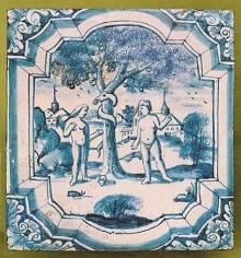 Kafel piecowy z przedstawieniem Adama i Ewy, pocz. XVIII w., Niemcy płn., (konserwacja 2002-2003)