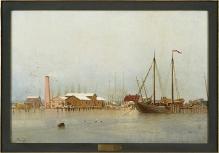 Robert Parlow, 2 poł. XIX w., Fragment portu zimą, olej/płótno (fot. G. Solecki).