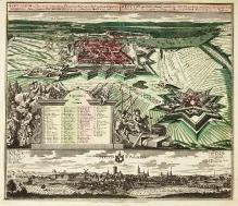 G. M. Seutter wg J. F. Freunda / G. P. Buscha i F.B. Wernera, Widok Szczecina od zachodu i panorama od południowego-wschodu, Augsburg, 1736 r., miedzioryt ręcznie kolorowany (fot. G. Solecki).