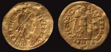 Tremissis Teodozjusza II znaleziony w Podhorcach (pow. tomaszowski, woj. lubelskie). Zbiory: Muzeum Regionalne w Tomaszowie Lubelskim
