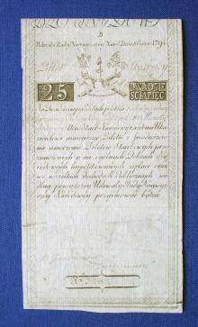 Polska, Insurekcja Kościuszkowska, bilet skarbowy wartości 25 zł, 1794, papier, 185 mm x 95 mm, fot. M. Pawłowski