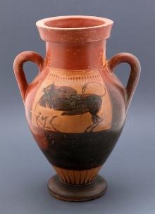Amfora czarnofigurowa, styl etruski, Etruria, Włochy, kon. IV w. p.n.e.