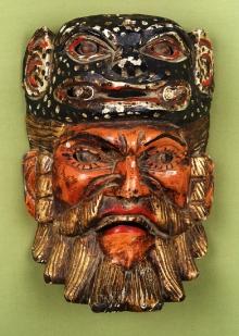 Maska konkwistadora, Gwatemala, koniec XX w., drewno polichromowane, 27 x 19 x 12,7 cm, fot. B. Grzonka
