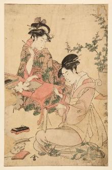 Ukiyo-e, drzeworyt barwny, autor: Utagawa Toyokuni (1769-1825) lub artysta należący do tej samej szkoły (Utagawa), Japonia, XVIII-XIX w., 37,6 x 24,2 cm, fot. G. Solecki, A. Piętak