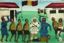 Autor nieznany, Kolonia belgijska, pogranicze Demokratycznej Republiki Kongo i Rwandy, połowa XX w., olej, płótno, drewno, 28,2 x 43 cm, fot. G. Solecki, A. Piętak