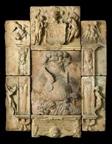 Hans Schenck zw. Scheusslich, Płyta fundacyjna z portretem księcia Filipa I z Wkryujścia, 1546, piaskowiec, 146 x 114 cm, fot. G. Solecki, A. Piętak