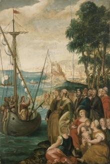 Artysta nieznany, Kazanie z łodzi, ok. 1577, olej, deska, 57 x 38 cm, fot. G. Solecki, A. Piętak
