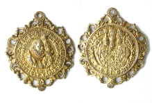 Ernest Ludwik iZofia Jadwiga, medalion zokazji zaślubin, Heinrich Rapusch, Berlin, 1589, srebro złocone, 60,4 mm x 52,5 mm,  fot. M. Pawłowski
