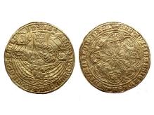 Niderlandy Płn. naśladownictwo rosenobla ang. Edwarda IV, 1585-87, złoto, Ø 38,6 mm, fot. M. Pawłowski