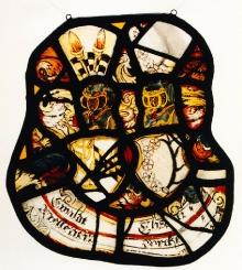 Witraż z herbami pomorskich rodzin Mellentin i Borcke, 1 połowa XVII w., szkło malowane, 33 x 30 cm, fot. G. Solecki i A Piętak