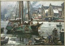 Hans Hartig, Zimowy dzień wSzczecinie, ok. 1920-30; olej na tekturze, 35,5 x55,5 cm,