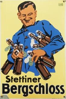 Emaliowana tablica reklamująca szczeciński browar Bergschloss, Atelier Leroi Neu Isenburg, okres międzywojenny, 60 x40 cm,