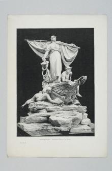 F. Feldweg wg L. Manzela, Model monumentalnej fontanny dla Szczecina (pomnik Sediny), 1897, drzeworyt sztorcowy, 42 x30 cm,