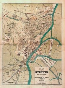 Plan Szczecina z1894 r., druk litograficzny F. M. Lenzner, Szczecin, 66 x47,5 cm,