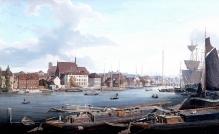 L. E. Lütke, Widok Szczecina od strony Odry zkościołem św. Jana, 1836, olej/płótno,