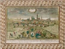J. G. Ringlin wg F. B. Wernera, Panorama Szczecina od strony wschodniej, ok. 1735, miedzioryt kolorowany, 20,4 x29,8 cm,