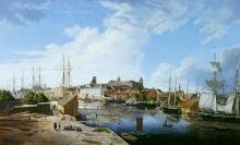 L.E. Lütke, Widok z Łasztowni na Zamek i Stare Miasto, 1836, olej/płótno