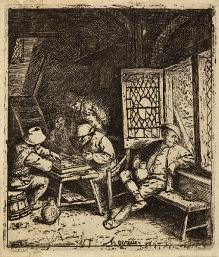 Adrien van Ostade (1610–1685), Gracze wtryktraka, 1682 akwaforta, sucha igła