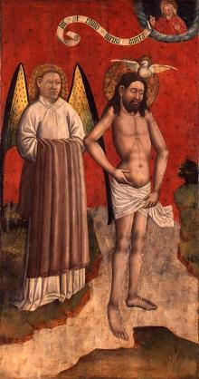 Poliptyk Stargardzki, Chrzest Jezusa, rewers lewego skrzydła zewnętrznego, warsztat Poliptyku Stargardzkiego, ok. 1450, deska dębowa, tempera, 230 x 129 cm, fot. G. Solecki