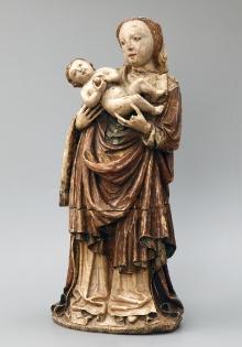 Maria z Dzieciątkiem z Bukowa Morskiego, warsztat wirtemberski (?), ok. 1440, alabaster, polichromia, złocenia, 60 x 26 x 15 cm, fot. G. Solecki