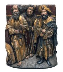 Ołtarz z Dąbia Szczecińskiego, fragment predelli z przedstawieniem trzech apostołów: świętych Pawła, Tomasza, Jakuba Starszego, Mistrz Ołtarza z Dąbia Szczecińskiego, 1510–1520, drewno dębowe, polichromia, 51,5 x 44 cm, fot. G. Solecki