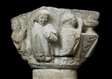 Czarci kapitel z Kołbacza, fragment z przedstawieniem mszy świętej, warsztat gotlandzki, 1330–1340, wapień gotlandzki, 37 x 56 x 53 cm, fot. G. Solecki