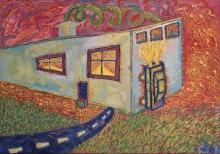Krzysztof Skarbek (ur. 1958), Pokój w gorącej wibracji, około 1989, olej, płótno, 90 x 120 cm, fot. Grzegorz Solecki