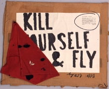Milan Knížák (ur. 1940), Kill Yourself and Fly, 1968, collage, papier, 54 x 75 cm, fot. Grzegorz Solecki