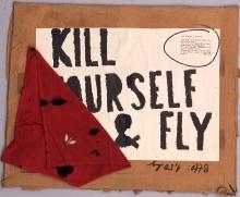 Milan Knížák (ur. 1940), Kill Yourself and Fly, 1968, collage, papier, 54 x 75 cm, fot. Grzegorz Solecki
