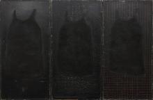 Hanna Nowicka (ur. 1962), Palimpsest, 1998, tryptyk, tablice szkolne, farba olejna, węgiel, 270 x 190 cm Zakup dofinansowany ze środków Województwa Zachodniopomorskiego oraz Ministra Kultury i Dziedzictwa Narodowego w 2016 roku