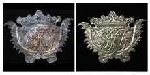 Tablica herbowa trumienna, XVII w., Pomorze Zachodnie, blacha miedziana srebrzona, (konserwacja 2010)