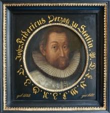 """Autor nieznany według sztychu Kiliana, """"Portret książęcy Jana Fryderyka"""", II poł. XVII w., Pomorze, olej, deska"""