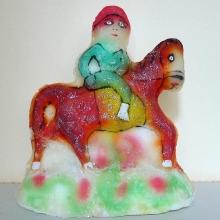 Wyrób lokalny, figurka jeźdźca na koniu, XX w., Tunezja, cukier