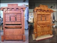 Sekretera, XIX w., stan przed i po konserwacji