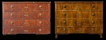 Komoda, XVIII w., stan przed i po konserwacji