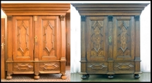 Szafa, XVIII w., stan przed i po konserwacji