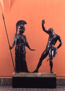 Atena i Marsjasz, rekonstrukcja rzeźby Myrona z Eleuterii z ok. 457–447 r. p.n.e., wykonana w WMF Geislingen (Niemcy), 1904–1909, brąz