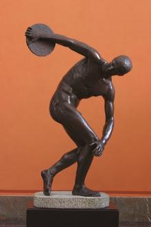 Dyskobol, rekonstrukcja rzeźby Myrona z Eleuterii z ok. 460–450 r. p.n.e., wykonana w WMF Geislingen (Niemcy), 1905–1909, brąz