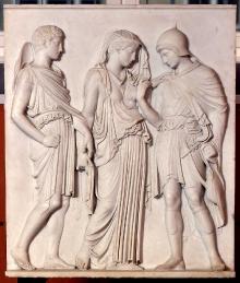 Orfeusz i Eurydyka prowadzeni przez Hermesa (stela grobowa), kopia rzeźby z kręgu Alkamenesa z 448–403 p.n.e., wykonana przez Hansa Everdinga, 1900–1909 r., marmur