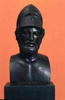 Perykles, popiersie, kopia według rzeźby Kresilasa z Aten z ok. 440–430 r. p.n.e., wykonana w WMF Geislingen (Niemcy), 1905–1909, brąz