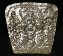 Tablica z herbami rodzin Ukerman i Zastrow, Pomorze, 1679, blacha miedziana, srebrzona, 48,5 cm x 50,5 cm, fot. G. Solecki i Arkadiusz Piętak