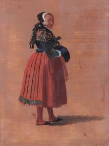Ludwig August Most ( 1807 – 1883), Młoda chłopka w stroju pyrzyckim,                       1836, olej, tektura, 25 x 31,8 cm, fot. Grzegorz Solecki, Arkadiusz Piętak