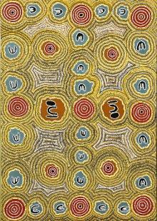 Valerie Morris Napurrula, Historia przodka oposa, 2005, malarstwo kropkowe, akryl, płótno, 138 x 96 cm, fot. G. Solecki, A. Piętak