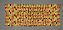 Tkanina kente, Akan, Ghana, 2. połowa XX w., bawełna, samodział, 68 x 160 cm, fot. G. Solecki, A. Piętak