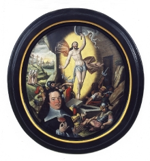 Malarz pomorski, Portret mężczyzny z różą na tle sceny Zmartwychwstania, po 1627, olej, blacha miedziana, 74 x 67 cm, fot. G. Solecki