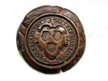 Pieczęć cechu szklarzy, Szczecin, miedź, drewno, Ø 31,5 mm, fot. M. Pawłowski