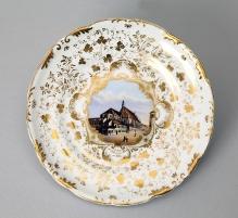Talerz zwidokiem kościoła św. Jana w Szczecinie, porcelana, Berlin, 1860-1864, średnica 21 cm,