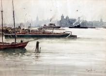 Tadeusz Nartowski, Pejzaż – port wSzczecinie, 1952 r. ,akwarela, 46 x63 cm,