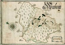 Kataster szwedzki, Plan podszczecińskiej wsi Osów, 1693 r., tusz, akwarela, 49 x70,5 cm,