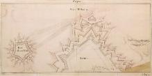 Gerhard Cornelius Walrave, de Sers, Projekt fortyfikacji wSzczecinie, 1734 r., tusz, akwarela, 33,7 x67,6 cm,